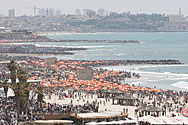 crowded beach at Tel Aviv